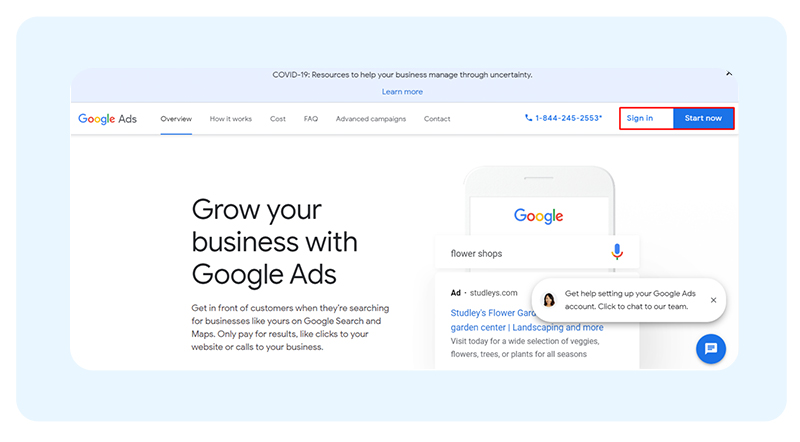 Google Ads sign in
